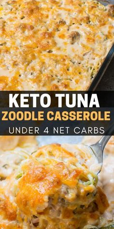 No carb diets 556827941429302574 - This Keto Tuna Zoodle Casserole is the perfect low carb comfort food! This dish is only net carbs and packed with zucchini noodles, a creamy cheese sauce and chunks of tuna. Source by maebellsa Low Carb Dinner Recipes, Keto Dinner, Diet Recipes, Healthy Recipes, Slimfast Recipes, Lunch Recipes, Low Carb Zucchini Recipes, Yogurt Recipes, Healthy Food