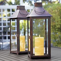 Mantle?    Knox Lanterns in Candleholders | Crate and Barrel