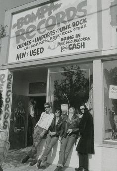 The Damned outside Bomp! records, LA, 1977