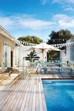 Browse swimming pool design ideas for the perfect pool for your home. Discover pool deck ideas and landscaping options to create your dream swimming pool Outdoor Areas, Outdoor Rooms, Outdoor Living, Indoor Outdoor, Pool Fence, Pool Decks, Swimming Pool Designs, Swimming Pools, Australian Beach