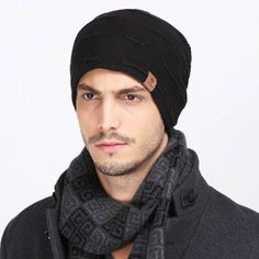 Winter knit beanie hat for men thick warm ski sports hats Mens Knit Beanie, Beanie Hats, Ski Sport, Winter Knit Hats, Ski Wear, Black Beanie, Hat For Man, Mens Caps, Skiing