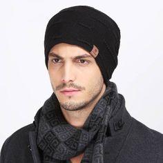 Winter knit beanie hat for men thick warm ski sports hats
