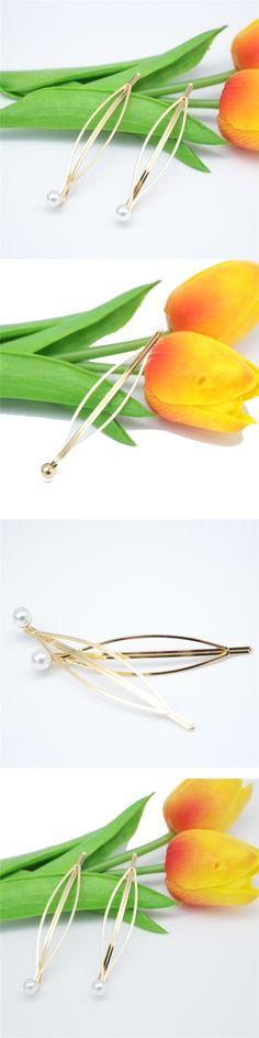 Fashion Women Metal Pearl Hair Pin Barrette Clip Side Hairpin Hair Accessory