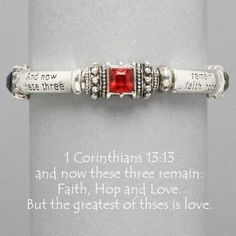 """Designer Inspired Silver Religious Bracelet with Bible Verse 1 Corinthians 13:13. """"And Now These Three Remain. Faith Hop & Love but the Greatest Is Love. Size : 1/4"""" H, Stretchable by Hail Mary Gifts, http://www.amazon.com/dp/B00CSUD5HA/ref=cm_sw_r_pi_dp_uvqQrb1G3ZYY5"""