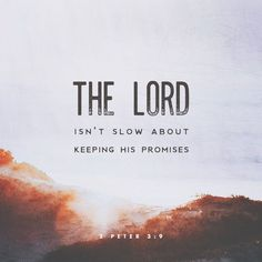 The Lord is not slack concerning his promise, as some men count slackness; but is longsuffering to us-ward, not willing that any should perish, but that all should come to repentance. 2 Peter 3:9 KJV