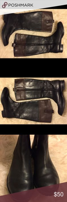 Ralph Lauren Black Brown Leather Riding Boots Brand: Lauren Ralph Lauren  Size: Women's 7.5 Color: black and brown  Style: Riding boot Condition: Preowned (see photos) Lauren Ralph Lauren Shoes Heeled Boots