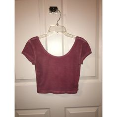 Pink crop top Pinkish/purple crop top with plunge neck line. Worn once! Very soft. Garage Tops Crop Tops
