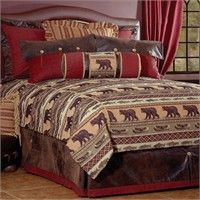 Rustic Bedding Collections - Rocky Mountain Cabin Decor offers a number of rustic bedding collections to turn any bedroom into a true rustic lodge.Our cabin bedding sets include one-of-a-kind quilts, extraordinarysoft plaid and fleece blankets, invi Comforter Cover, Duvet Bedding Sets, Bedding Shop, Southwestern Bedding, Mountain Cabin Decor, Lodge Bedroom, Cabin Style Homes, Log Homes, Bear Decor