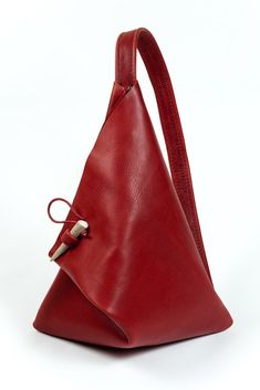 xo red leather triangle street bag