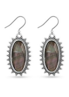 Lucky Brand Jewelry  Silver-Tone Oblong Mother of Pearl Drop Earrings