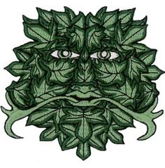 """Green Man Sew On/Iron Embroidered Patch 8.5cm X 9cm (3 1/4"""" X 3 1/2"""") Approx"""