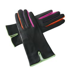 Black Leather Gloves with Multicolour Detail