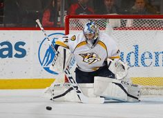 NEWARK, NJ - DECEMBER 20: Juuse Saros #74 of the Nashville Predators makes the first period save against the New Jersey Devils at the Prudential Center on December 20, 2016 in Newark, New Jersey. (Photo by Bruce Bennett/Getty Images)