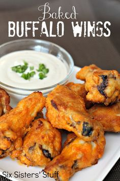 Six Sisters Stuff: Baked Buffalo Wings. The Super Bowl is right around the corner and these Baked Buffalo Wings would be the perfect food for your party! We make them every year and they are delicious. Antipasto, Baked Buffalo Wings, Buffalo Chicken, Ranch Chicken, Appetizer Recipes, Dinner Recipes, Spicy Appetizers, Appetizer Party, Party Recipes