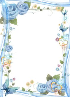 Floral photo frame with hearts and butterflies Borders For Paper, Borders And Frames, Butterfly Frame, Flower Frame, Fun Wedding Invitations, Wedding Cards, Frame Border Design, Paper Frames, Stationery Paper
