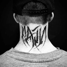 Pain Tattoo on Neck back neck tattoo pain Tattoo Font For Men, Tattoo Script, Sleeve Tattoos For Women, Tattoo Fonts, Lettering Tattoo, Boy Tattoos, Music Tattoos, Feather Tattoos, Trendy Tattoos