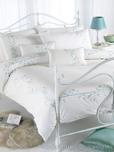 Duck Egg Blue & Cream Elegant Cotton Blend Duvet Cover - Bedding UK