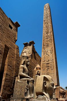 Luxor temple, Luxor Egypt This is the facade of the temple with the Egyptian ob. - Luxor temple, Luxor Egypt This is the facade of the temple with the Egyptian obelisk (Cleopatra' - Ancient Egypt Art, Old Egypt, Ancient Ruins, Ancient History, Egypt Cat, Ancient Egyptian Artifacts, Luxor Temple, Ancient Egyptian Architecture, Monuments