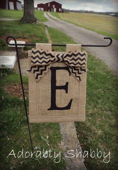 $25.00 FREE SHIPPING- Personalized Burlap Flag with Chevron Burlap Bow
