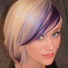 thinking I might do this the next time I get my hair done.cept not purple…hmm… - Modern Hair Color Purple, Cool Hair Color, Ombre Hair, Blonde Hair, Dark Hair, Blonde Bangs, Blonde Pixie, Peekaboo Hair, Hair Highlights