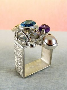 Gregory Pyra Piro #Bijoux d'Auteur, Bijoux Fait Main, Bijoux en #Paris, #Argent Massif et Or #Bague Carré 2855