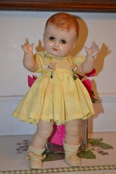 """IDEAL PLASSIE 1946 14"""" STRAIGHT LEGS WITH ORIGINAL SUNSUIT, RAYON SOCKS, SHOES #DollswithClothingAccessories"""