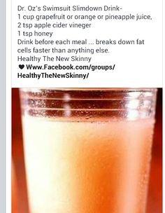 1 cup grapefruit or orange juice 2 tsp apple cider vinegar