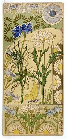 Extremely rare and beautiful French Art Nouveau set of 8 floral color lithographs by Riom