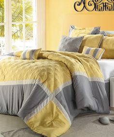 This Yellow & Gray Quincy Comforter Set is perfect! #zulilyfinds