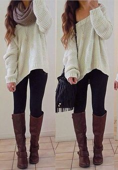 Off the shoulder sweater over a tank, with leggings and boots, and infinity scarf, all perfect for a nice winter day
