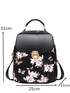 Women s Butterfly Fashion PU Leather Hasp Closure Backpack 2 Colors. Girl  BackpacksCollege ... 88c94c7687