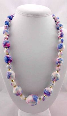 Vintage Necklace  Blue Flowered Acrylic Necklace  by Pastfinds, $28.00