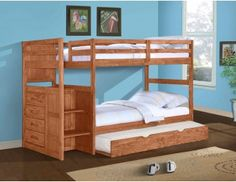 The Ranch Stairway Bunk Bed is a great addition to any child's bedroom. The built-in staircase provides a mini adventure for kids who are looking to storm a castle tower or ascend to the crows nest of a pirate ship. House Bunk Bed, Bunk Beds With Stairs, Twin Bunk Beds, Kids Bunk Beds, Twin Twin, Loft Beds, Trundle Bed With Storage, Kids Toddler Bed, 3 Kids