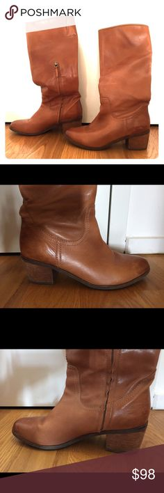 Sam Edelman Knee-High Brown Leather Boots Bought about two years ago, and worn less than 5 times - love them, but they don't fit the rest of my wardrobe. The leather is soft and the boots are very comfortable. The interior lining is suede-like. Minor scuffing, that could easily be buffed out with leather cleaner / polish. Sam Edelman Shoes Heeled Boots