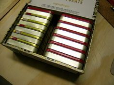 cute way to store your craft embellishments...in a cigar box in altoid tin. All you have to do is lable them.