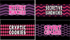 Spy Party Supplies ~ Personalized Secret Agent Birthday Supplies FOOD CARDS