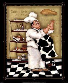 Tossing Chef by Dena Marie art print Chef Kitchen Decor, Kitchen Themes, Kitchen Art, Decoupage Vintage, Decoupage Paper, Chef Pictures, Kitchen Pictures, Kitchen Pics, Foto Transfer