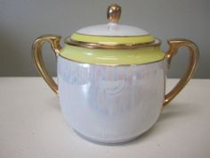 HAND PAINTED NIPPON COVERED SUGAR BOWL LUSTER WARE YELLOW JAPAN PRE OWN