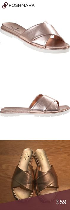 Kate Spade rose gold slides, like new I'm so sad these were too small for me! This is a re-posh. Gorgeous rose gold slides, excellent condition like new. Rubber sole. Size 8. They do run true to size but I have wide feet 🙃 kate spade Shoes Sandals