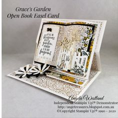 I just had to make one more of these Open Book Easel Cards, they have become very addictive. Easel Cards, 3d Cards, Fancy Fold Cards, Folded Cards, Anna Griffin Cards, Card Book, 3d Paper Crafts, Shaped Cards, Card Making Tutorials
