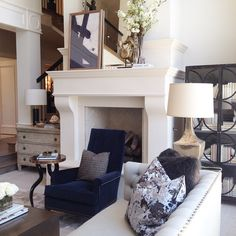 Alice lane Home Collection   French Moderne Manor   Neutral living room with blue accents