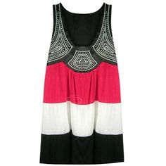Women's Ethnic Embroidery Tank Top With Color Block and Loose-Fit... ❤ liked on Polyvore
