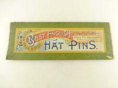 Vintage Victorian William Hall Best English Make Hat Pin Hatpin Card Holder