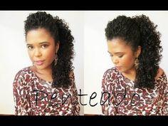 Penteado lateral com topete/ cabelos cacheados