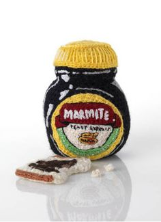 Marmite & Toast Marmite, Funky Art, Felt Food, Soft Sculpture, Yarn Needle, Food Gifts, Food Art, Talbots, Embroidery Designs