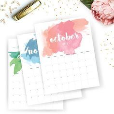 Watercolor 2018 Calendar Planner Instant Download