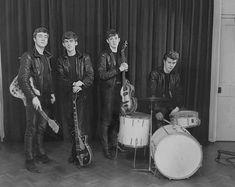John Lennon, George Harrison, Paul McCartney, and Pete Best (December 17, 1961 first photo session)