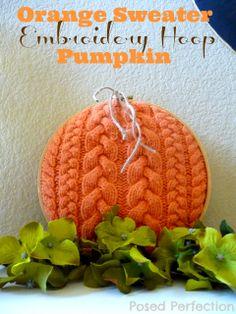 Orange Sweater Embroidery Hoop Pumpkin by Posed Perfection #sweatercrafts #pumpkins #fallfun