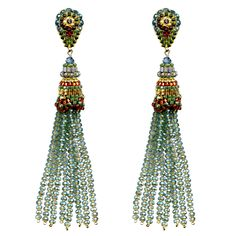 Green Hydroqtz, Swarovski, and Miyuki bead Tassel Earrings, Miguel Ases