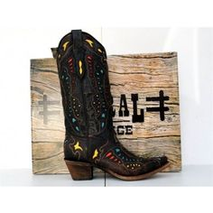 Corral Womens Yellow, Red and Turquoise Inlay Butterfly Wing Cowgirl Boots A1928